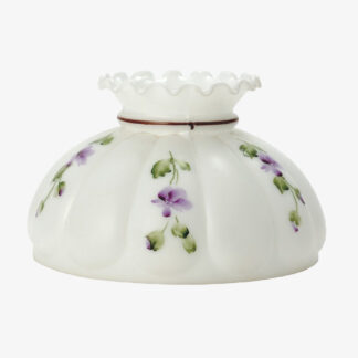 Frosted opal glass shade with violets
