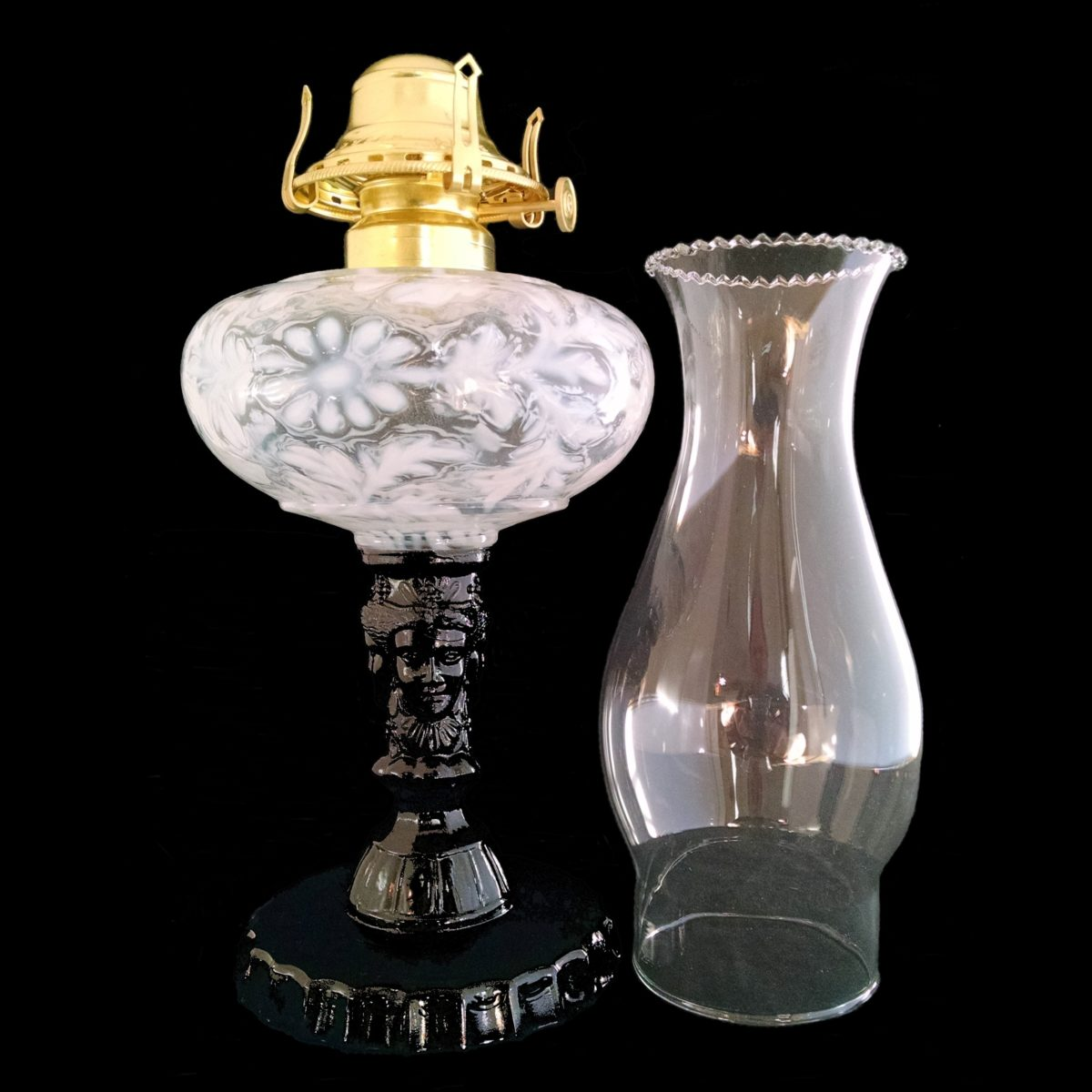 Three Face Oil Lamp French Opalescent over Black Raspberry Glass