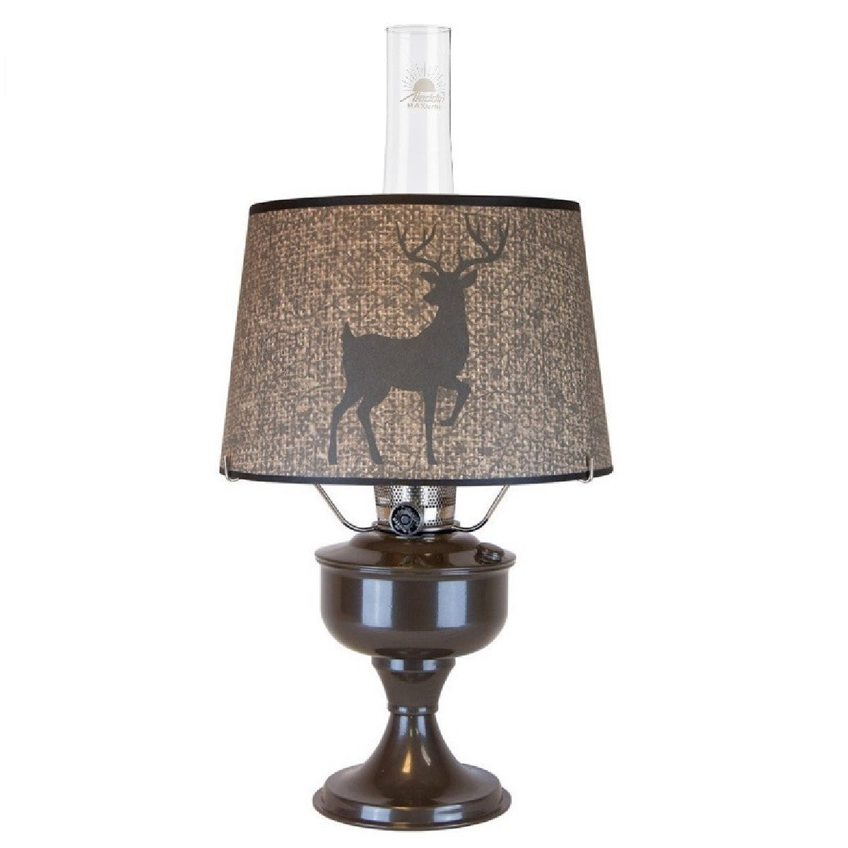 Aladdin Lamp Sepia Brown Aluminum Table Lamp With Woodland Royalty